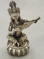 Китайский резной белый Медная скульптура лютни Манджушри
