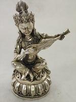 Chinese hand carved white copper sculpture lute Manjushri
