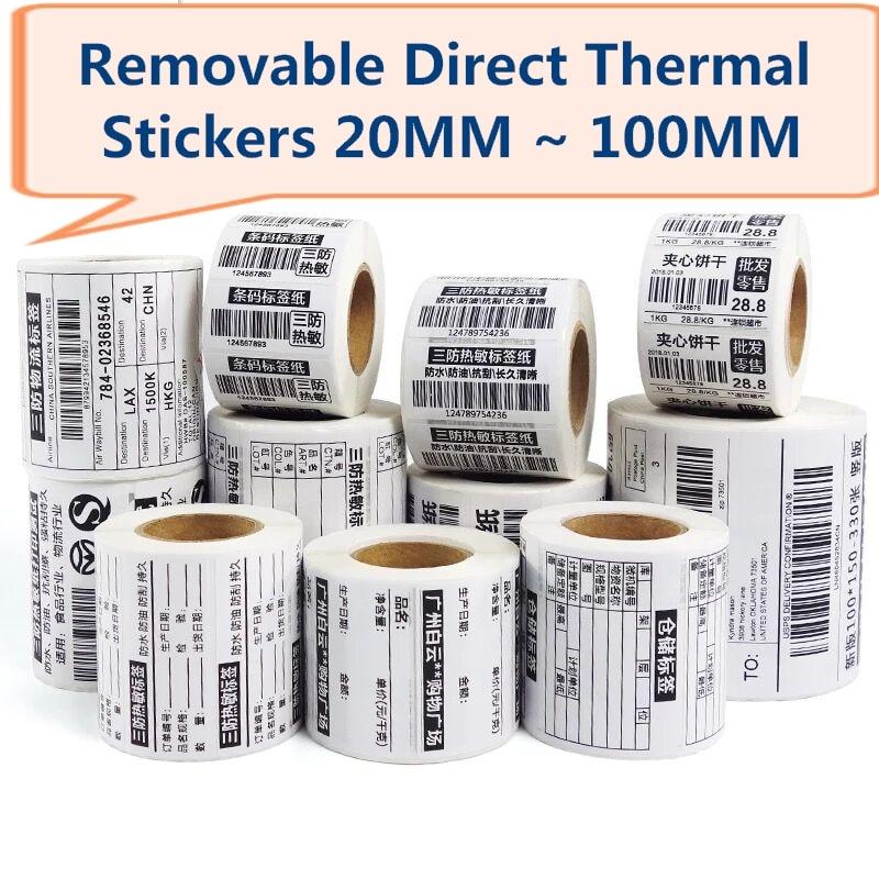 Купить с кэшбэком Removable  Direct Thermal Label  Waterproof Labels 40*30 50*30 60*40 70*50 80*50 , 100*80  for Zebra Desktop Printer GC420d
