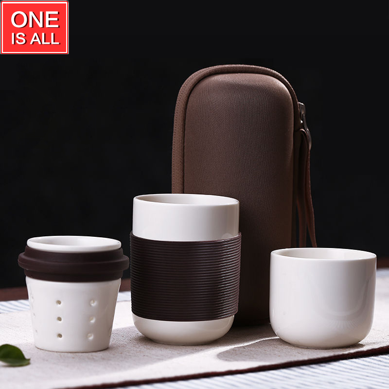 4pcs/set Travel Tea Set Ceramic Portable Kungfu Teacup Kaffee OBERTASSE China Coffee <font><b>Mugs</b></font> Tea <font><b>cups</b></font> <font><b>Chinese</b></font> Porcelain Tumbler New
