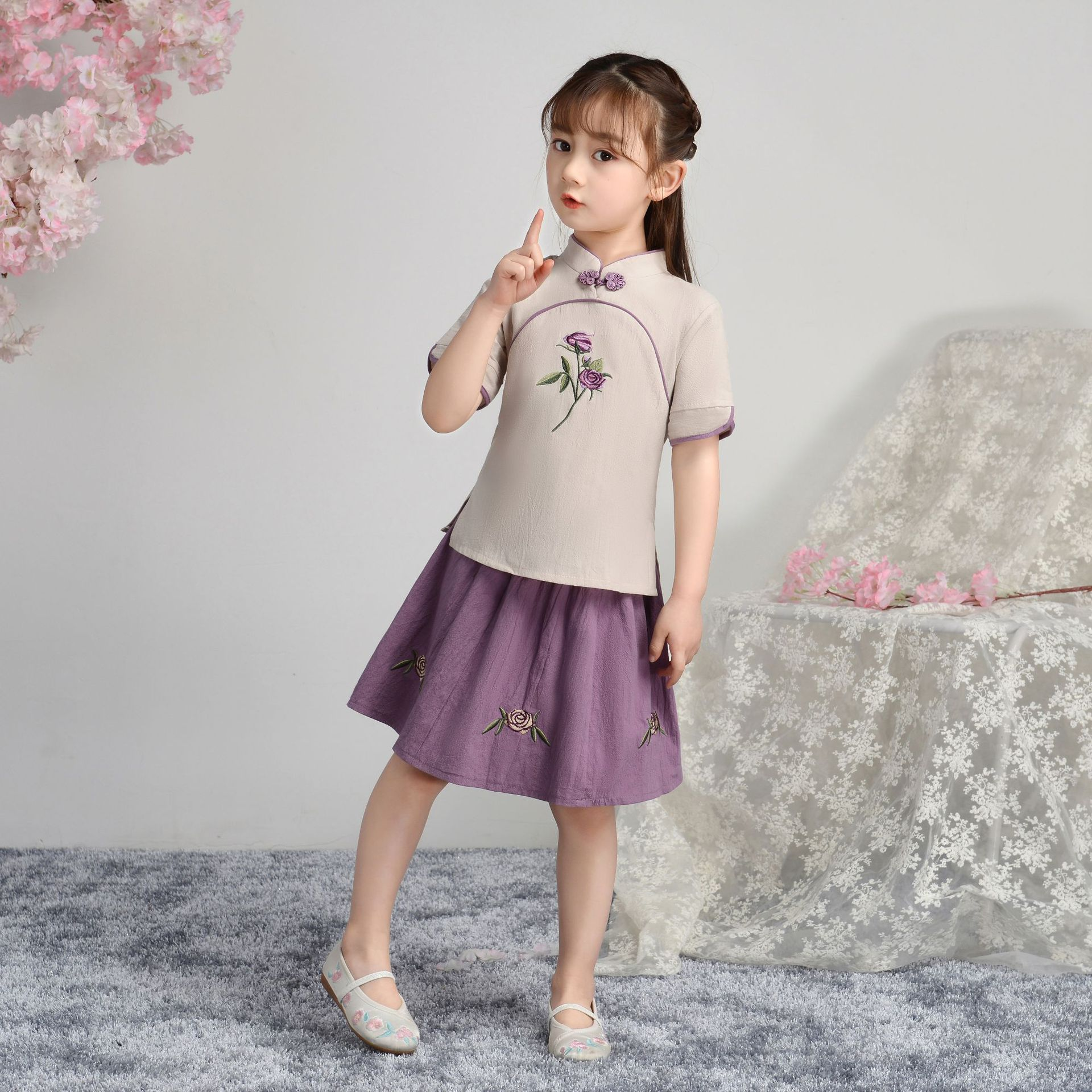 Two-Pieces Girls Cotton Linen Embroider Floral Sets Chinese Traditional Retro Dress Summer Casual Dresses Children Perform Dress