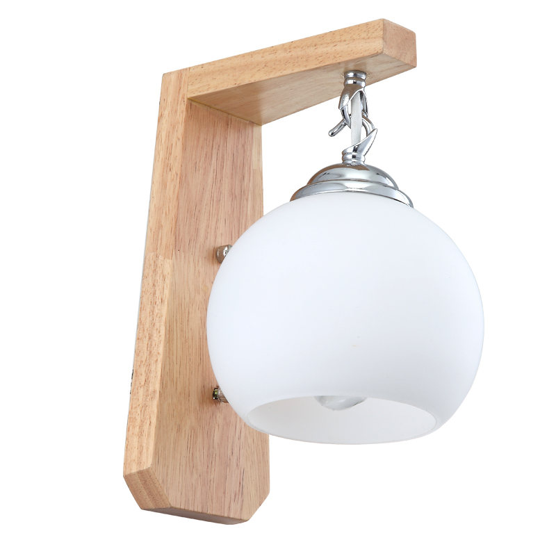 Plug In Wall Sconce E27 Retro Wood