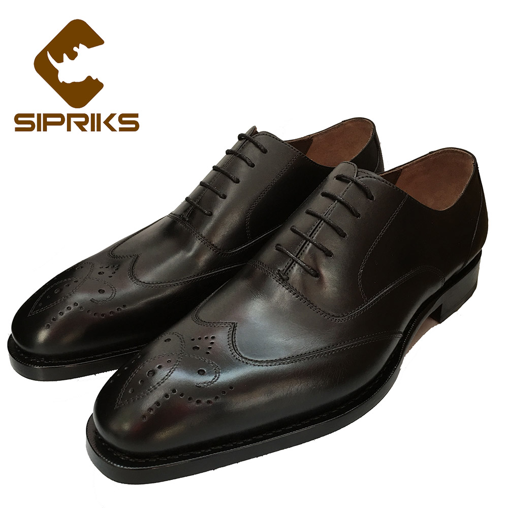 SIPRIKS Bespoke Goodyear wingtip shoes carved mens dress shoes boss brogue shoes italian brand mens derby business oxfords shoe цена