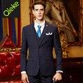 Brand Clothing 2017Latest men formal wedding suits Deep Blue slim fit men tuxedo men dress suits prom coat/vest/pant men suits