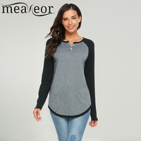 Women Casual Long Raglan Sleeve O Neck Color Block Patchwork Loose Pullover T Shirt Tee Shirt