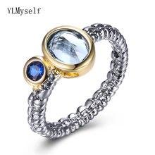 2021 Овальный синего цвета с украшением в виде кристаллов кольцо