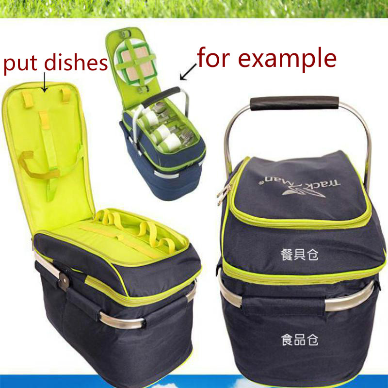ФОТО Trackman Camping Outdoor Picnic Basket Portable Folding Large Picnic Bag Basket Food Storage Bags Picnic Handbags Lunch Box