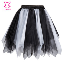 Black White Layered Asymmetrical Mesh Tutu Skirt Women Adult Sexy Club Dancer Wear Skirts Womens Burlesque Costume Petticoat