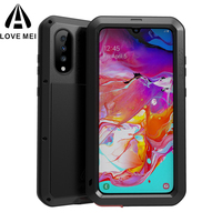 Love Mei Waterproof 360 Full Body Protective Case For Samsung Galaxy A70 Case Shockproof Silicone Aluminum Metal Back Cover