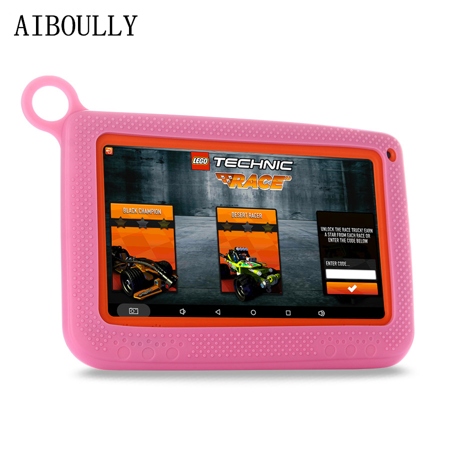 AIBOULLY Original 7 inch Kids Tablet PC Android 6.0 WiFi Quad Core 512 1GB RAM Dual Camera with Cartoon Case Keyboard Tablet 4.4 usb 80 key keyboard w cartoon style protective case for 7 tablet pc beige white