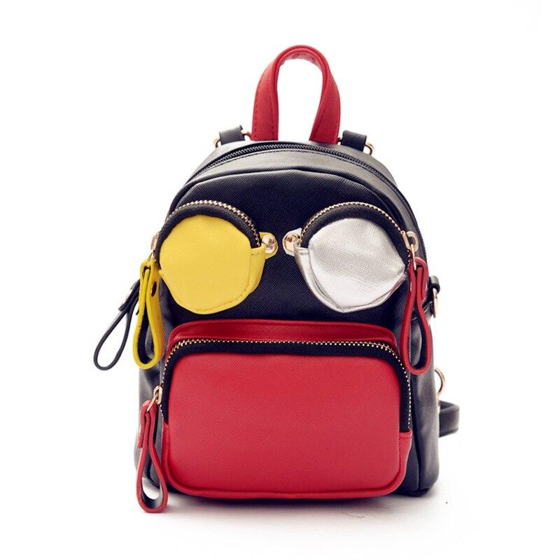 2017 NEW Famous Brand Designer Women Backpacks Pattern Eyes Bear Girls School Bags Cute PU Leather