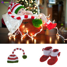 3949132eb Crochet Newborn Baby Christmas Photography Props Boys Girls Knitted ELF  Beanie Hat with Boots Infant Santa Clause Costume