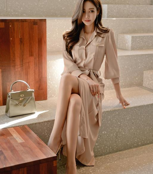 2019 Spring Formal Pencil OL Dress Business Women Single Breasted Turn Down Collar Long Sleeve Office Dress with Belt LJ44 2