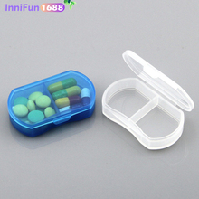 2 Grids Mini Pill Box Portable Pills Medicine Drugs Case Secret Stash Container Tool