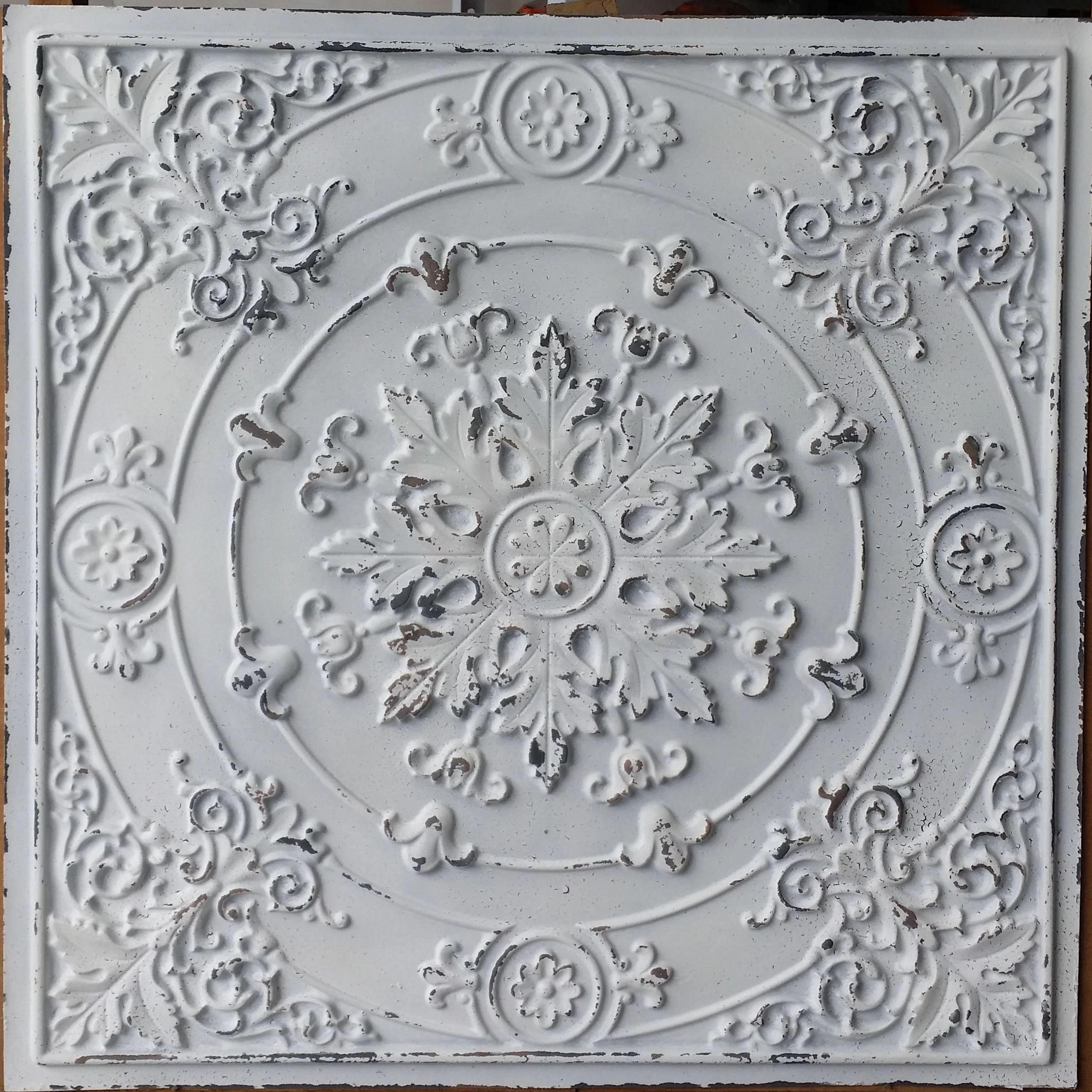 decor ceiling tile faux tin distressed white cafe pub restaurant well ceiling panels pl18