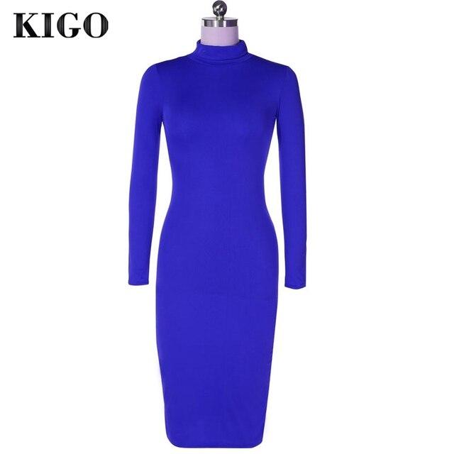 KIGO Kim Kardashian Dress Autumn Black Turtleneck Solid Vestidos Femininos Party Dress Sexy Long Sleeve Bodycon Bandage Dress 4