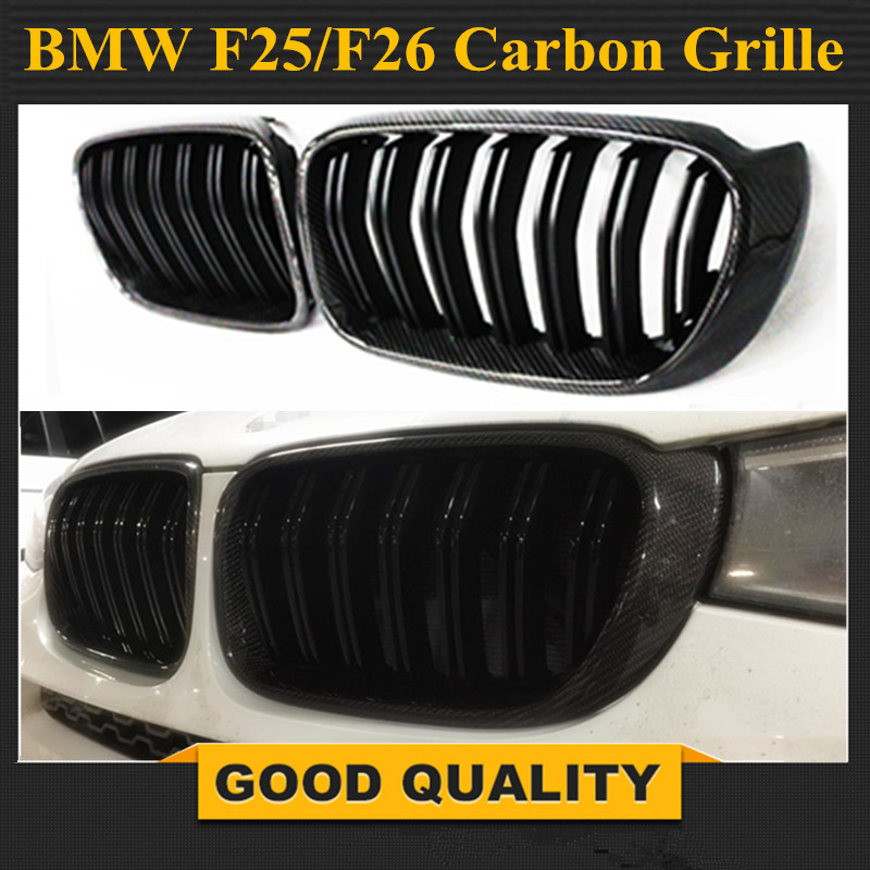 Car Styling Carbon fiber material black Front Kidney Dual Slat Mesh Grill Grille For BMW F25 X3 F26 X4 2014 + X Series