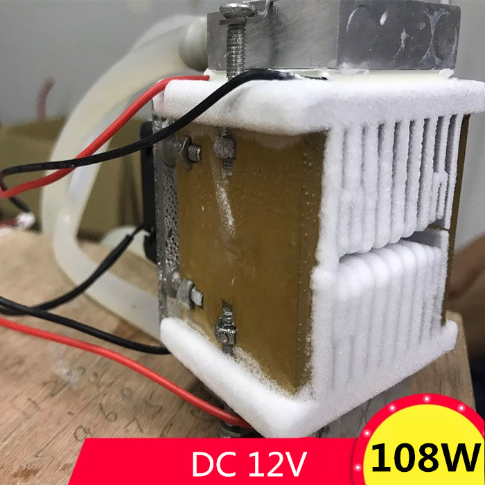 DC12V 108W Semiconductor electronic Peltier refrigeration cold Space Small air conditioner water cooling Aluminum radiator fan