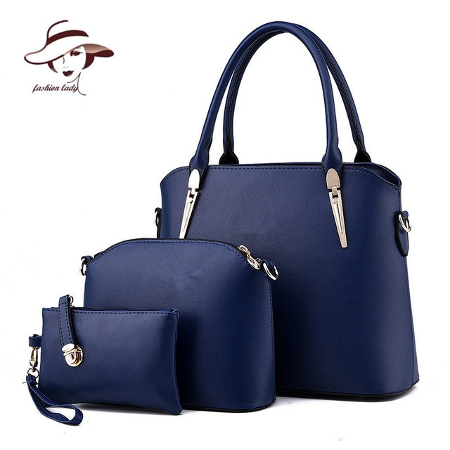 b5338b3573134 2018 Women Handbags Leather Handbag Women Messenger Bags Ladies Brand  Designs Bag Famous Bags Handbag+Purse+Messenger Bag 3 Sets