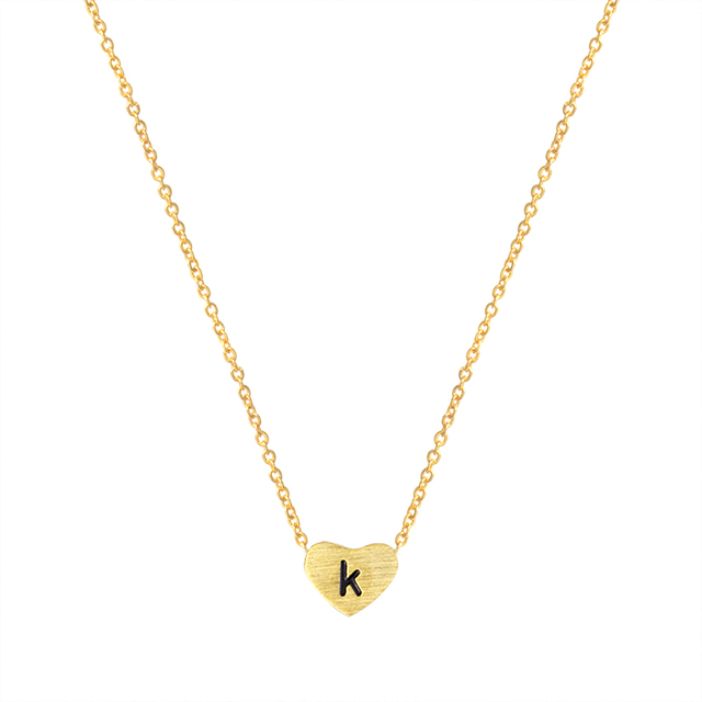 Letter k Necklace ALP New Design Jewelry Stainless Steel Letter k Necklace Initial Word Heart Pendant  k Necklace Women Gold