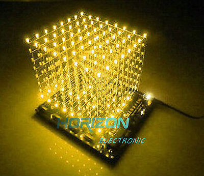 3D LightSquared DIY komplekt 8x8x8 3mm LED kollane valgusdiood
