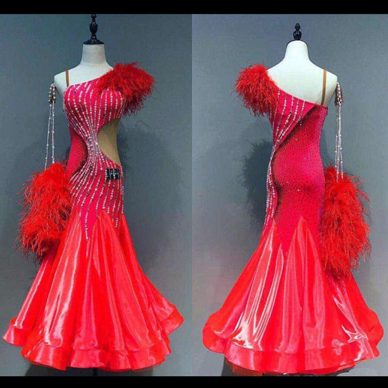 New! Competition Ballroom Dance Costumes Sexy Sleeveless Ballroom Dance Dress For Women Ballroom Dance Competition Dresses Red