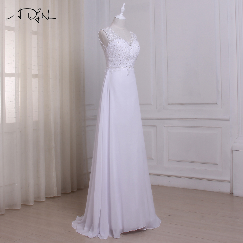 Elegant Chiffon Beaded Beach Wedding Dress