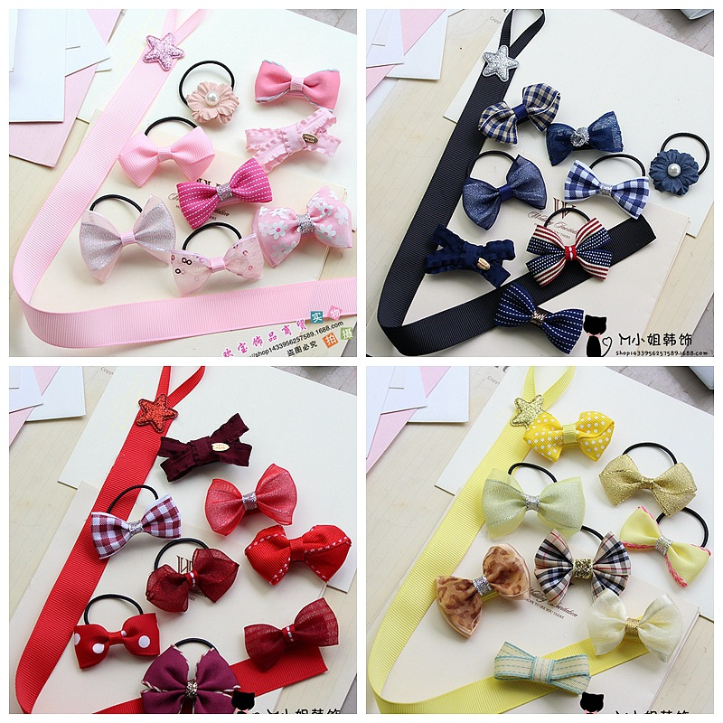 9 pcs/set Girls Kids Ribbon Bow Flower Hair Clip Pin Hairpin Barrette Accessories For Children Hair Ornaments Hairclip Headdress 2015 kids hair accessories lovely polka dot fabric boutique hair bow shair clip girls hair accessories headdress meng
