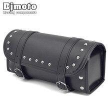 Bjmoto Motorcycle Cafe Racer Saddlebag PU Leather Saddle Bag Tool for Harley Davidson motorbike