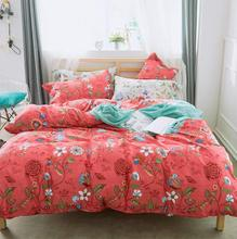 Cute flower bedding sets adult teen girl,full queen king red green floral cotton home textile flat sheet pillow case quilt cover