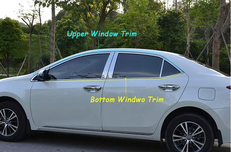 Free Shipping Stainless Steel 8PCS UPPER + BOTTOM Window Frame Trim For Toyota Corolla 2014+ stainless steel upper window frame sill trim 8pcs for fusion mondeo 2013 2014