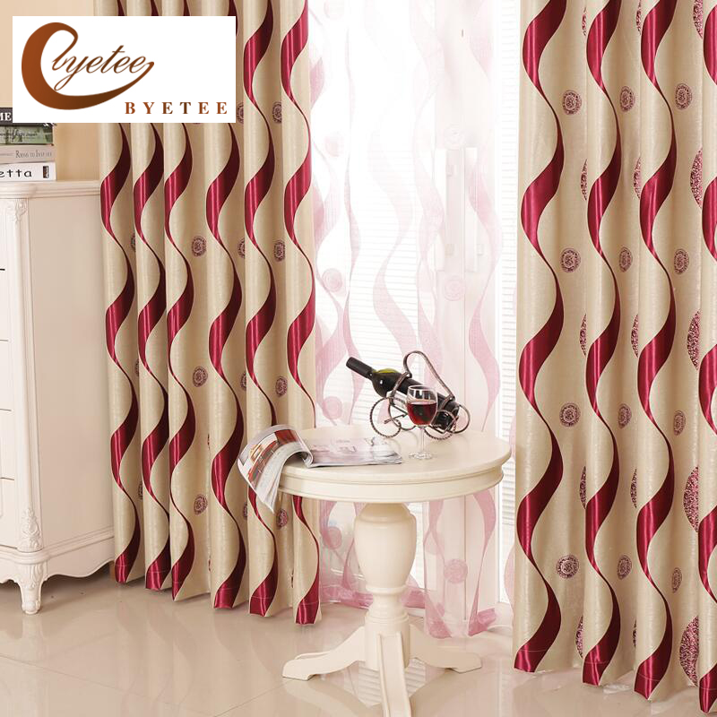 {byetee} European Finished Products Living Room Curtain Window Striped Luxury Curtain Blackout Curtains Kitchen For Bedroom