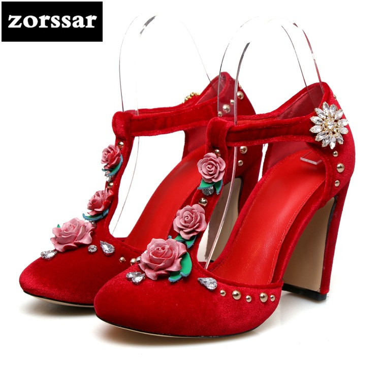 {Zorssar} 2018 New summer Fashion Crystal flock women shoes Heels Pointed toe Solid Shallow Ankle Strap High heels Wedding shoes new 2017 spring summer women shoes pointed toe high quality brand fashion womens flats ladies plus size 41 sweet flock t179