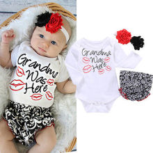 3PCs Long Sleeve Kiss Romper+PP Pants+Flower Headband Clothing Set