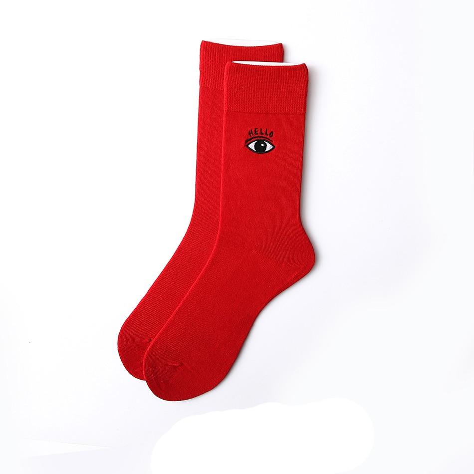 Canjoyn Women Men Happy Socks Art Red Eye Cotton Hip hop Funny Long Socks calcetines hombre
