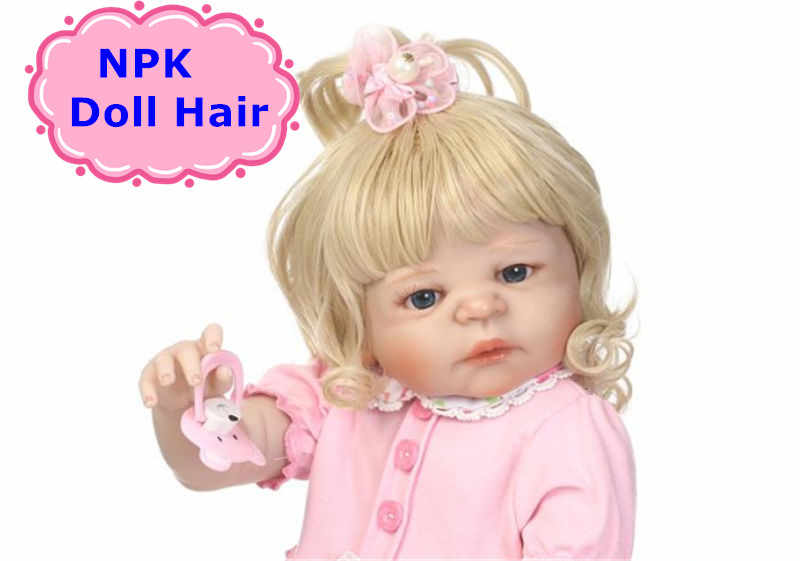 NPK 55 см для новорожденных, для девочек парик для волос для Bebe возрожденная менина моющийся Силиконовый Куклы Reborn Sticked волосы парик для DIY Reborn куклы