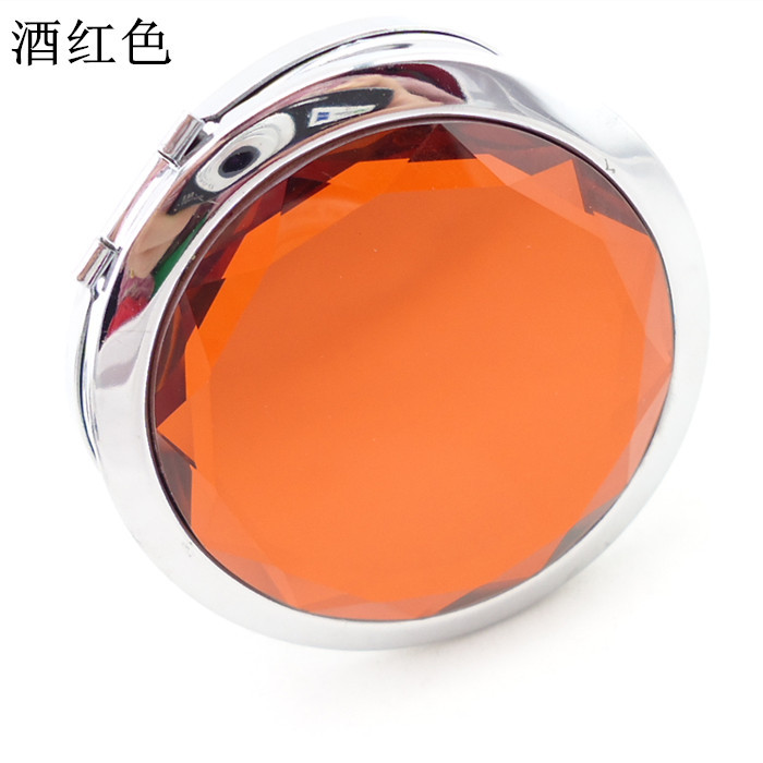 50pcs lot 7cm folding makeup mirror compact mirror with crystal metal pocket mirror for wedding gift