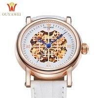 Skeleton Sapphire Crystal Women Mechanical Watch Luxury Brand OUYAWEI Women Automatic Mechanical Watch Women Diamond Dress Watch