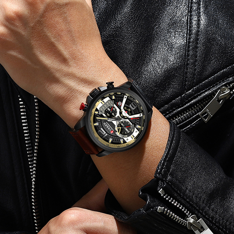 Wristwatch Mens CURREN 2019 Top Brand Luxury Sports Watch Men Fashion Leather Watches with Calendar for Men Black Male Clock 2