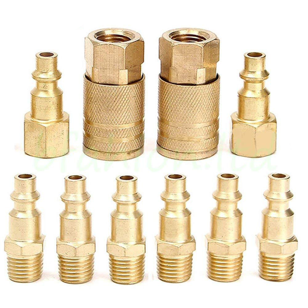 10 Pcs Quick Release Air Line Coupler Connector Set For Compressor Tools Brass USA Style High Performance 1/4 Inch NPT Gold Tone