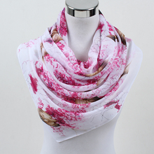 2018 New Women Chiffon Silk Scarfs Fashion  Square polyester Scarves Print flowers Shawl Summer Shawls And Hijabs 052