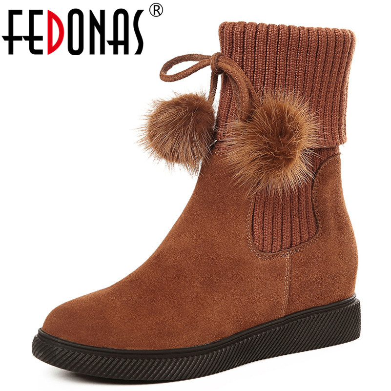 FEDONAS Fashion Cute Women Ankle Boots Round Toe Wedges High Heels Autumn Winter Martin Shoes Woman Ladies Warm Basic Boots fedonas retro ruffels women shoes woman wedges high heeled warm autumn winter motorcycle boots fashion new round toe martin shoe