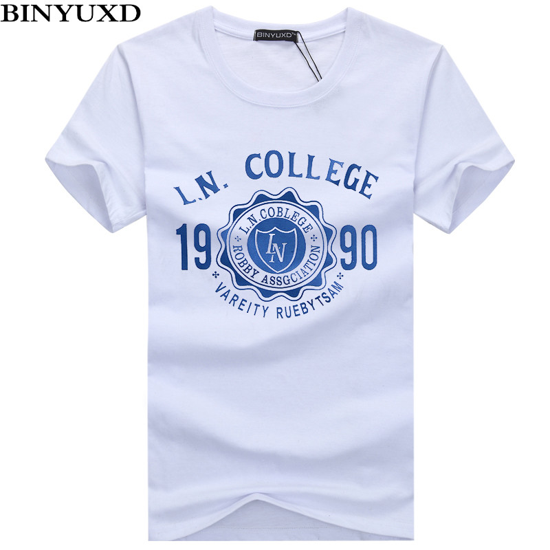 BINYUXD New Mens   T  -  Shirt   Summer Listing Fashion Printed Casual Man's Slim Fit Short-Sleeve   T     Shirt   Men Clothes large size S-5XL