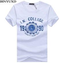 c83820fd36 Binyuxd nueva camiseta para hombre verano listado moda impreso hombre  casual slim fit de manga corta