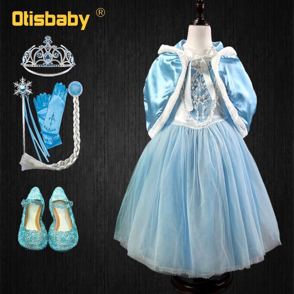 904668b47 2019 Navidad fantasía Elsa Anna princesa vestido capa nieve reina disfraz  niña Cenicienta vestidos de fantasía para Halloween