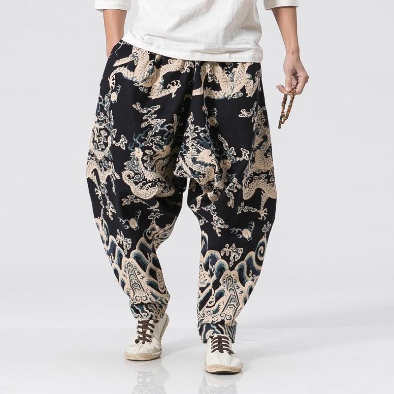 2019 Summer Chinese Style Men Dragon Pants Loose Casual Hip Hop Men's Jogger Harem Pants Streetwear Sweatpants Pencil Pants