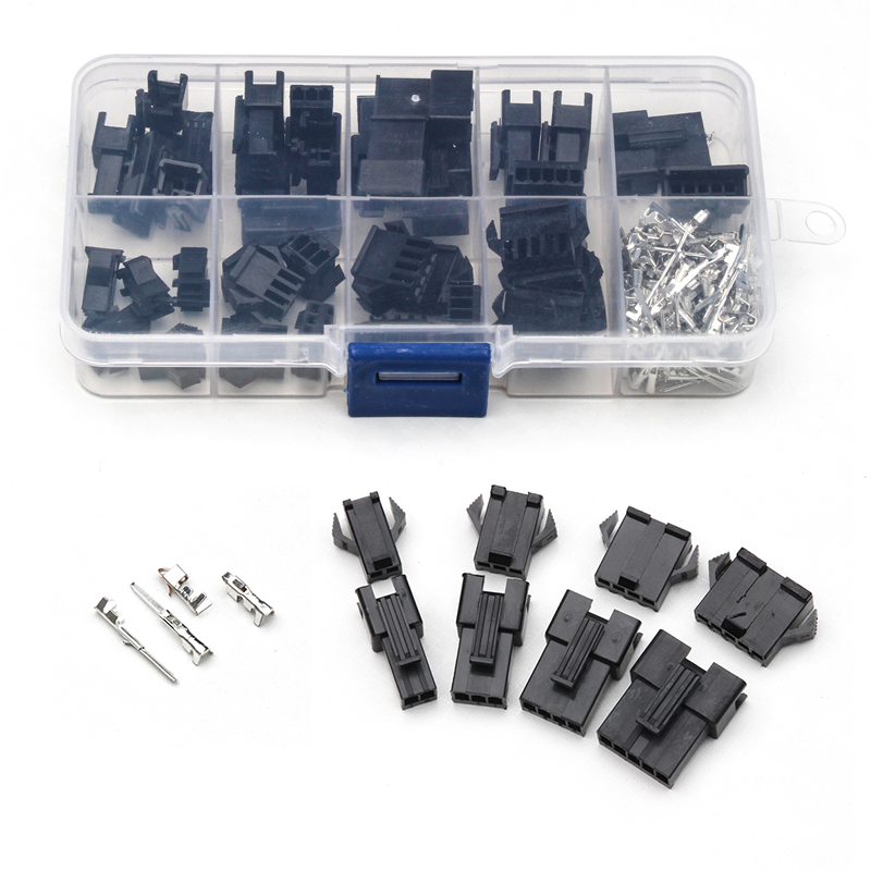 200PCS Black Nylon Housing Terminals Set Male/Female Connectors with Wings/Hooks For Electronics Household Appliance 2/3/4/5 Pin bonatech xh2 54 11 pin connectors plug straight needle seat terminals white 10 pcs
