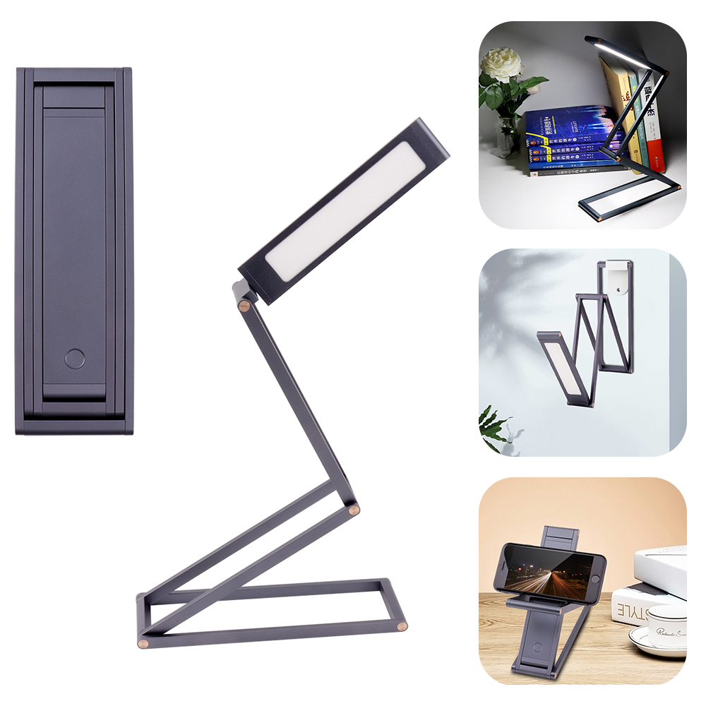 New Fashion Grey Aluminum Alloy LED Desk Light Reading Lamp Eye Protection Dimmable Office LED Desk Table Lamp USB Rechargeable huan jun shi led dimmable desk lamp usb rechargeable led table lamp atmosphere night light eye care adjustable rgb table light