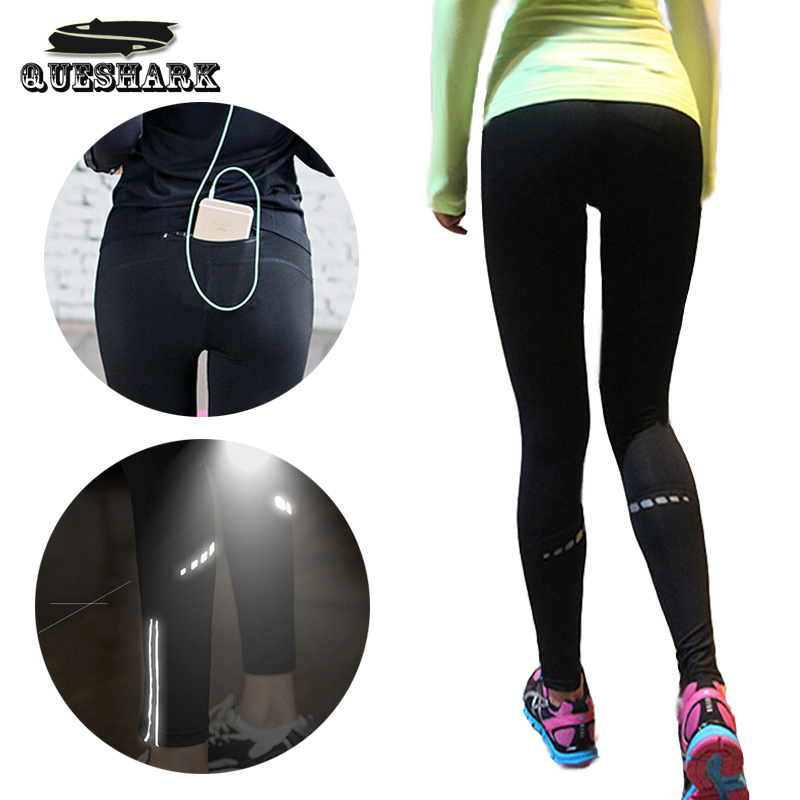 Women Back Zipper Pocket Reflective Running Pants Sport Yoga Tights Leggings Fitness Jogging Trousers Gym Slim Compression Pants bamboo pocket yoga pants