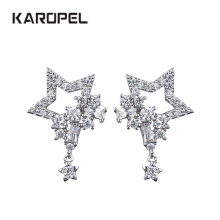 Fashion New Arrival Crystal Star Stud Earrings For Women Girls CZ Zircon Silver Color Five Pointed Star Earrings Party Jewelry стоимость